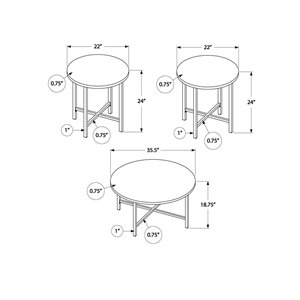 Monarch Specialties Accent Table Set - Glossy White and Chrome Metal - Set of 3