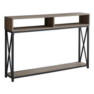 Monarch Specialties Console Table in Taupe and Black Metal - 48-in L