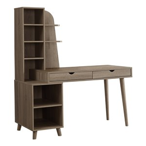 Monarch Specialties Computer Desk with Bookcase in Dark Taupe - 55-in L