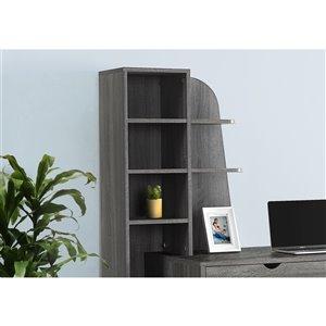 Monarch Specialties Computer Desk with Bookcase in Grey - 55-in L