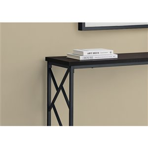 Monarch Specialties Console Table in Espresso and Black Metal - 44-in L