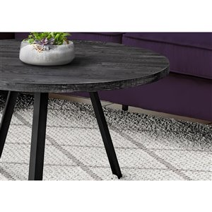 Monarch Specialties Coffee Table - Black Reclaimed Wood and Black Metal - 36-in