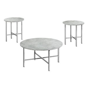 Monarch Specialties Accent Table Set - Grey Cement and Chrome Metal - Set of 3