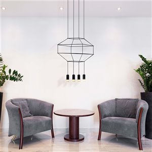 VONN Lighting Expression LED Pendant Light - 17.75-in - Black