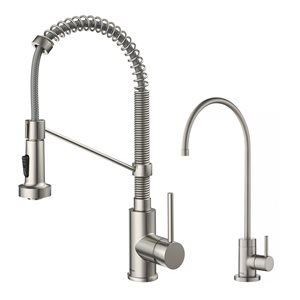Kraus Pull-Down Kitchen Faucet and Water Filter - Stainless Steel