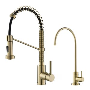 Kraus Pull-Down Kitchen Faucet and Water Filter - Brushed Gold