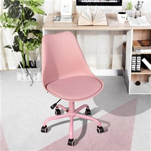 FurnitureR BLOKHUS Curve Style Office Chair Modern with 5 Casters - Pink