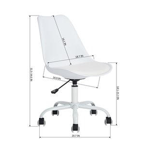 FurnitureR BLOKHUS Curve Style Office Chair Modern with 5 Casters - White