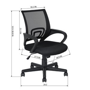 FurnitureR KITE001 Mesh Office Chair Armrest with 5 Casters - Black
