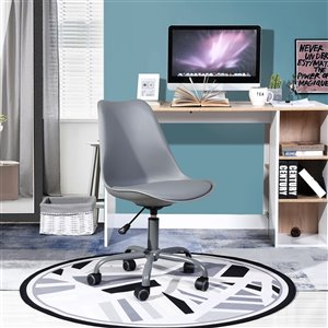 FurnitureR Curve Style Office Chair Modern with 5 Casters - Grey