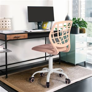 FurnitureR CARNATION PLICA Colorful Office Chair Breathable Mesh with 5 Casters - Rose