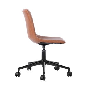 FurnitureR TAISON Office Chair Secretary with 5 Casters - Brown