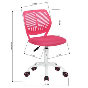 FurnitureR CARNATION Colorful Office Chair Breathable Mesh with 5 Casters - Pink