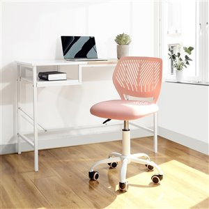 FurnitureR CARNATION Colorful Breathable Mesh Office Chair with 5 Casters - Blush