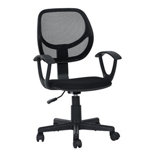 FurnitureR JOSE001 Mesh Office Chair Armrest with 5 Casters - Black