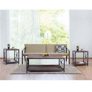 FurnitureR Square End table Vintage - Brown - 20-in x 20-in x 20-in
