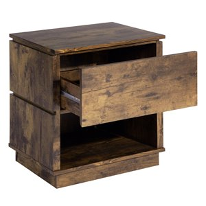 FurnitureR Vintage Nightstand End Table with 1 Drawer - 19.88-in x 22.05-in x 14.96-in