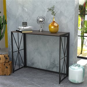 FurnitureR Folding Console table for Small Computer Desk Hores - Black and Brown - 39.4-in