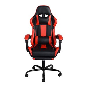 FurintureR BLYTHEWOOD Gaming Racing Chair with Footrest - Red and Black