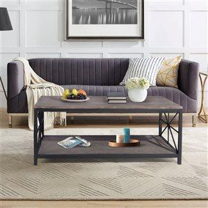 FurnitureR Rectangular Coffee Table - Brown - 43.3-in x 17.3-in x 23.6-in