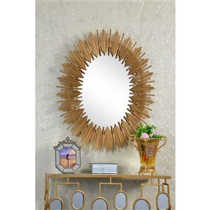 Plata Import Unico Oval Wall Mirror - Vertical - Gold