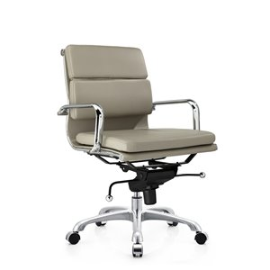 Plata Import Paco Leather Mid Back Office Chair - Gray
