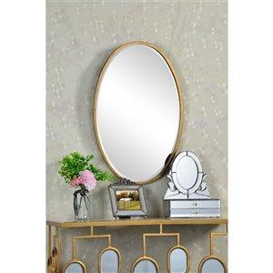 Plata Import Obio Oval Wall Mirror - Vertical - Gold