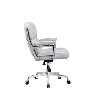 Plata Import Lobby Leather Mid Back Office Chair - White