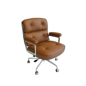 Plata Import Lobby Leather Mid Back Office Chair - Tan