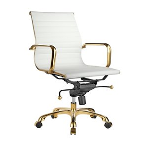 Plata Import Toni Mid Back Office Chair with Gold Frame- White