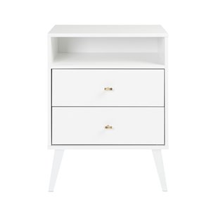 Prepac Milo 2-drawer Tall Nightstand with Open Shelf, White