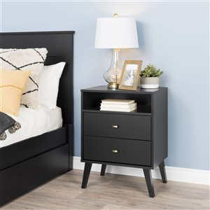 Prepac Milo 2-drawer Tall Nightstand with Open Shelf, Black
