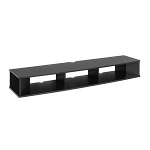 Prepac Wide Wall Mounted TV Stand in Black Finish - 70-in x 16-in x 48-in