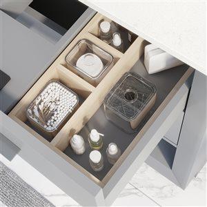 ikou riley single sink grey bathroom vanity with power bar