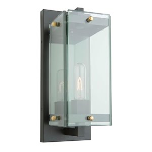 Artcraft Lighting Bradgate AC8141BK Outdoor Wall Light - 20.5-in - Matte Black/Harvest Brass