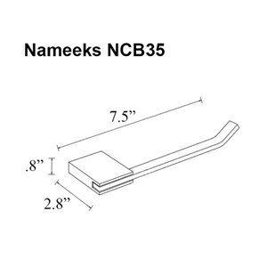 Nameeks General Hotel Wall Mounted Toilet Paper Holder In Chrome - 2.8-in x 0.8-in x 7.5-in