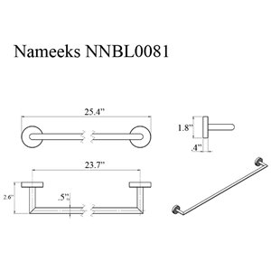 Nameeks Grand Hotel Wall Mounted Towel Bar In Black - 24-in