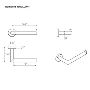 Nameeks Grand Hotel Wall Mounted Toilet Paper Holder In Black - 3.35-in x 1.73-in x 7.24-in
