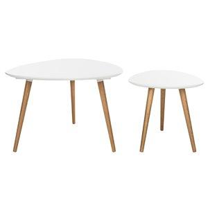 Safavieh Saffron 2-peice White Oak Spilt Coffee Table set
