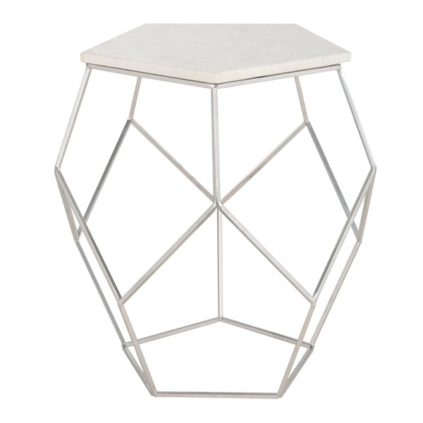 Safavieh Abella Silver And Whie Pentagon Accent Table Lowe S Canada
