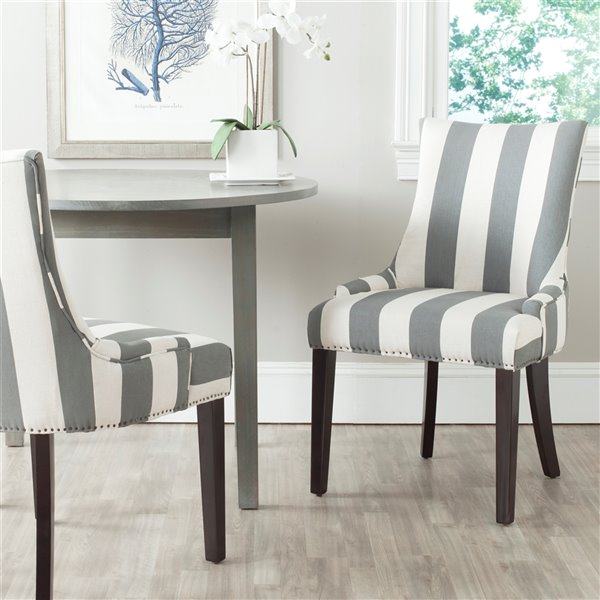 Safavieh Lester 19 In H Awning Stripes Dining Chair Grey Bone Seat And Rustic Black Finish Set Of 2 Lowe S Canada