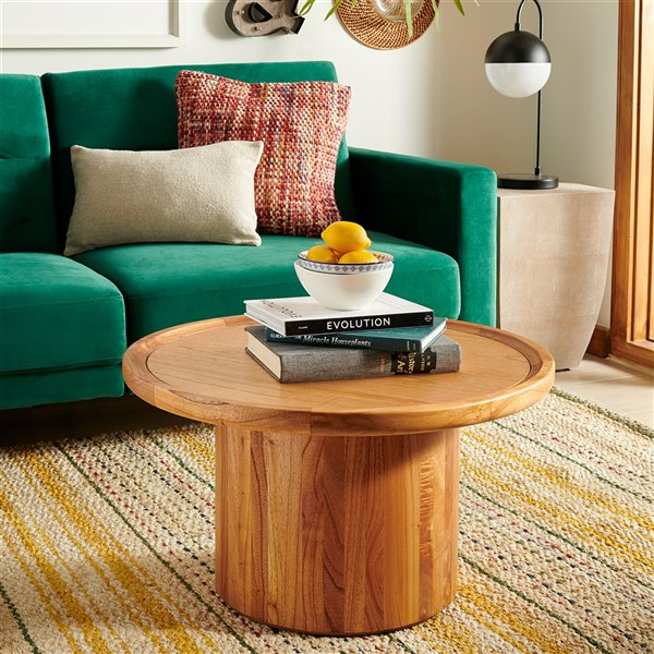 Safavieh Devin Round Wood Pedestal Coffee Table 27 99 In Diameter Lowe S Canada