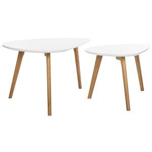 Safavieh Olida 2-piece White Oak Coffee Table Set
