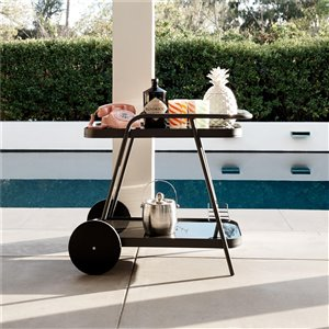 Novogratz Barbie Poolside Collection Outdoor Bar Cart - 29.13-in - Aluminum - Gray