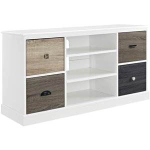 Ameriwood Home Mercer TV Console with Multicoloured Door Fronts for TVs - 47.5-in x 15.7-in x 25-in - White