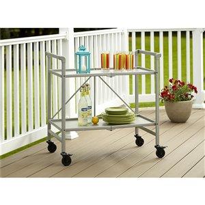 COSCO Intellifit Outdoor Living Outdoor/Indoor Folding Cart - 2-Shelf - 33.47-in - Aluminum - Silver