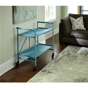 COSCO Intellifit Outdoor Living Outdoor/Indoor Folding Cart - 2-Shelf - 33.47-in - Aluminum - Teal