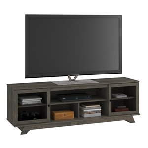 Ameriwood Home Englewood TV Stand for TVs up to 80-in - 71.61-in x 17.52-in x 22.61-in - Weathered Oak