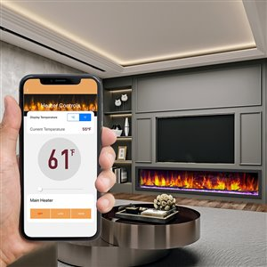 Dynasty Cascade Smart Control Electric Fireplace - 64-in - Black