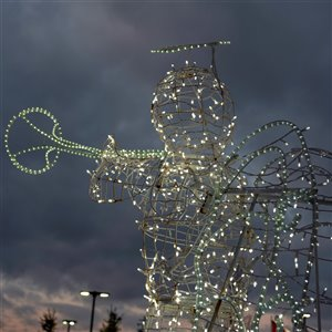 Northlight Pre-Lit Trumpeting Angel Commercial Christmas Outdoor Decor - 9.75-ft - White